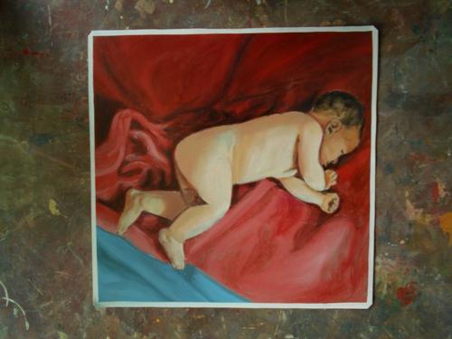 Folk art Baby hand painted on metal