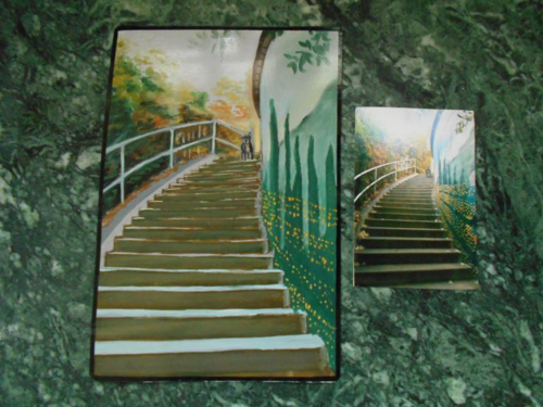 Folk art landscape with dog on staircase
