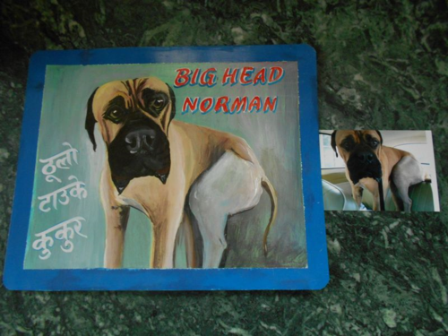 Folk art Mastiff hand painted on metal