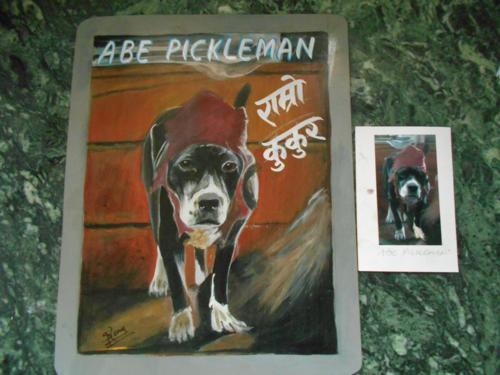 Folk art Pittie hand painted on metal in Nepal
