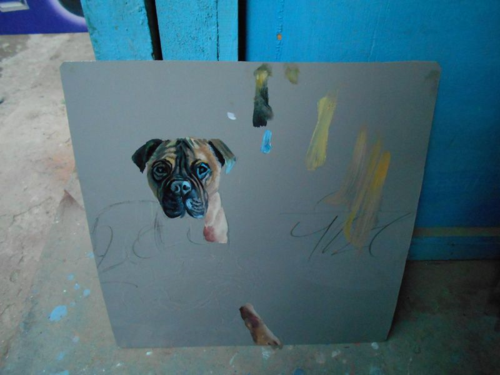 Folk art Mastiff hand painted on metal