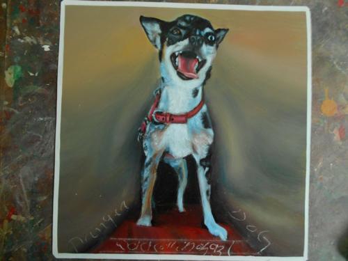 Folk art Beware of Chihuahua hand painted on metal in Nepal
