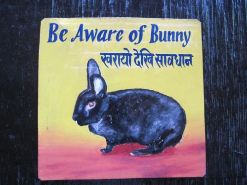 Folk art Black Rabbit hand painted on metal in Nepal