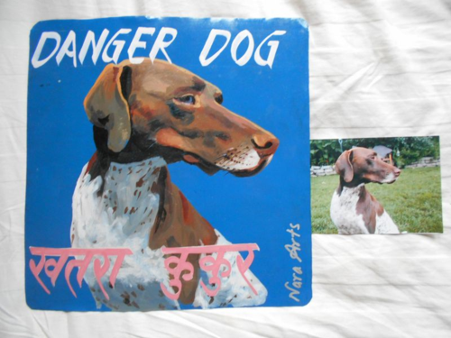 Folk art German Short-Haired Pointer hand painted on metal in Nepal