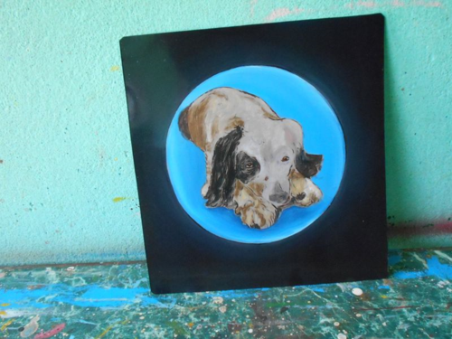 Folk art Cocker Spaniel, English Setter mix hand painted on metal in Nepal