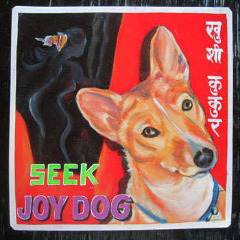 Folk art Basenji sign hand painted on metal