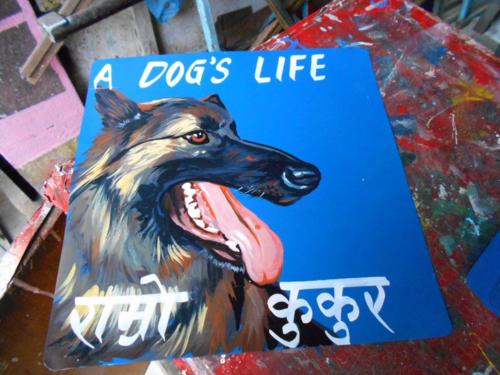 Folk art Beware of Tervuren hand painted on metal in Nepal