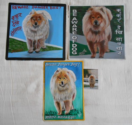 Folk art portrait of a Eurasian Dog (Spitz, Chow and Samoyed mix) hand painted on metal in Nepal