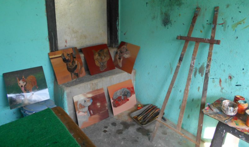 Folk art drying in an artist's studio in Kathmandu, Nepal