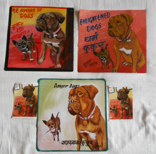 Folk art Chihuahua and Dogue de Bordeaux hand painted on metal in Nepal