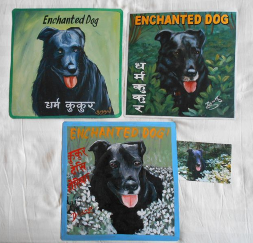 Folk art Black Lab hand painted on metal in Nepal