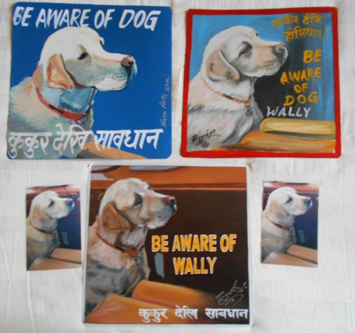 Folk art portrait of a Labrador Retriever hand painted on metal by a sign painter in Nepal