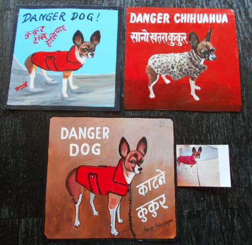 Folk art Beware of Chihuahua hand painted on metal by a sign painter in Nepal