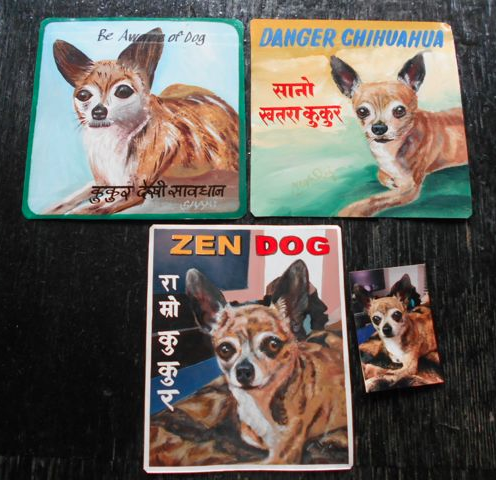 Folk art Chihuahua hand painted on metal by a sign painter in Nepal