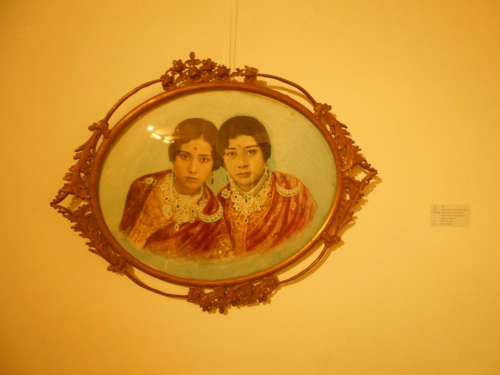 hand painted photograph of 2 Nepali ladies from the Rana period in Nepal circa 1920s