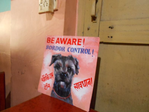 Folk art beware of Border Collie  sign hand painted by a sign painter in Nepal