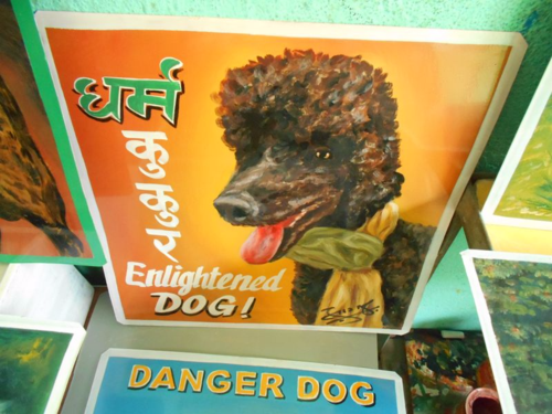 Folk art Beware of black Standard Poodle sign hand painted on metal in Nepal