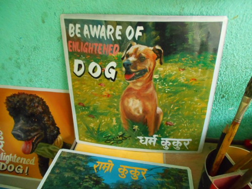 Folk art Beware of Boxer sign hand painted on metal in Nepal