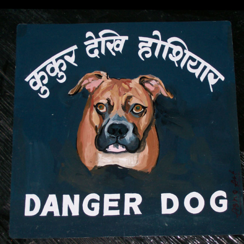 Folk art Boxer beware of dog sign hand painted on metal in Nepal