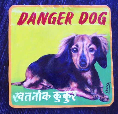 Folk art beware of long haired Dachshund hand painted on metal in Nepal