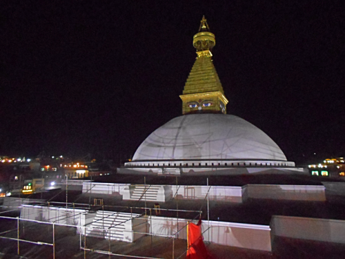 The renovated Boudhanath Stupa by moonlight