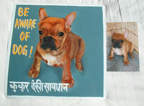 Folk art beware of French Bulldog puppy hand painted on metal in Nepal.