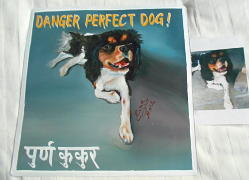 Folk art Beware of King Cavalier Spaniel hand painted on metal in Nepal