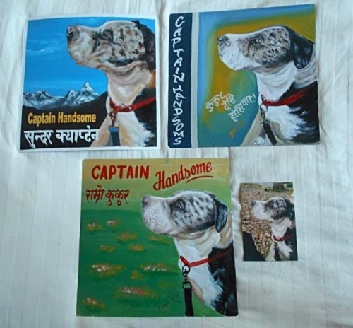 Folk art beware of rescue dog hand painted on metal in Nepal