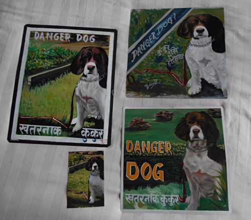 Folk art beware of Springer Spaniel sign hand painted on metal in Nepal