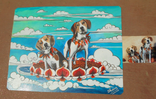 Folk art portrait of a Foxhound and a Beagle hand painted on metal in a Thanka style