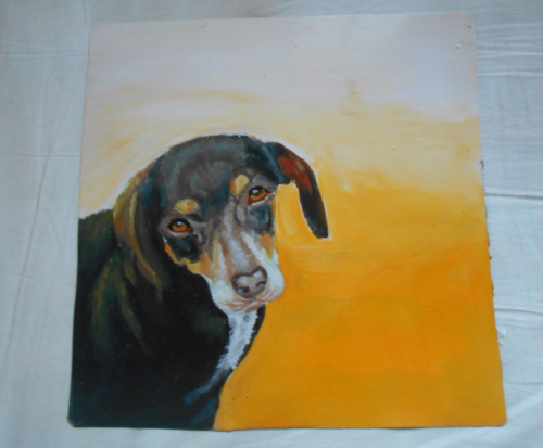 Folk art portrait of a rescue dog hand painted in Nepal
