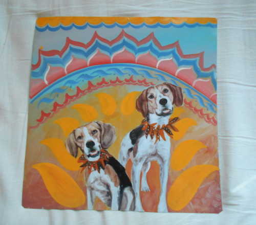 Folk art portrait of a Foxhound and a Beagle hand painted on metal in the Thanka style in Nepal