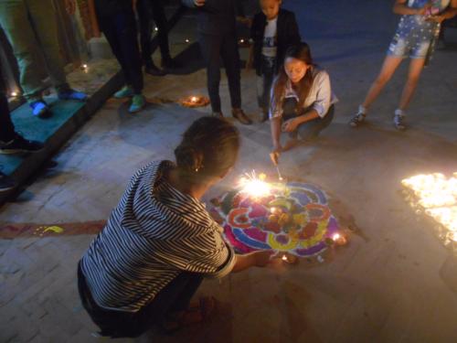 Rangoli and fireworks on the Boudha Stupa