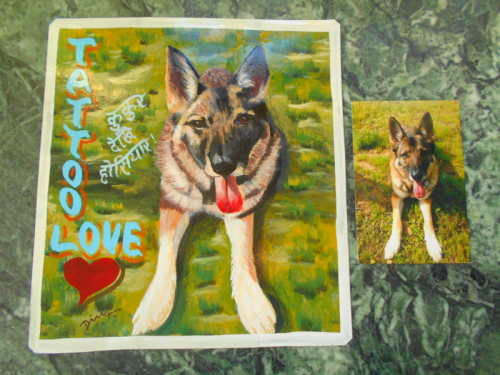 Folk art portrait of a German Shepherd hand painted on metal in Nepa