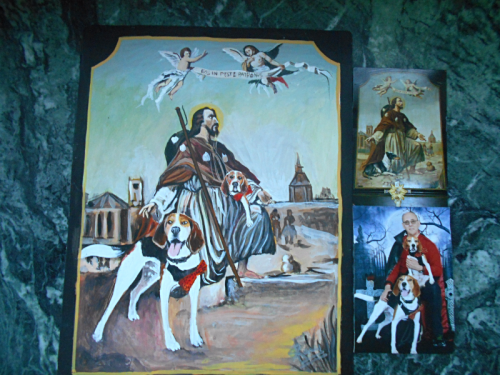 Folk art painting of St. Roch with a Foxhound and a Beagle hand painted on metal in Nepal