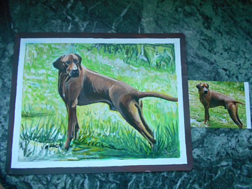 folk art portrait of a Rhodesian Ridgehound hand painted on metal in Nepal