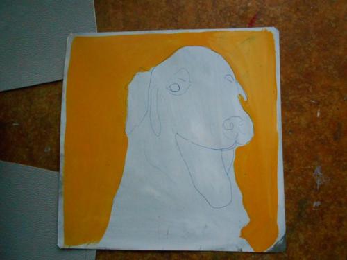Folk art Dog hand painted on metal