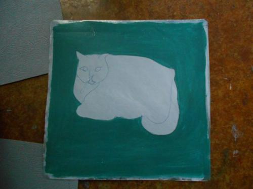 Folk art Cat portrait hand painted on metal in Nepal
