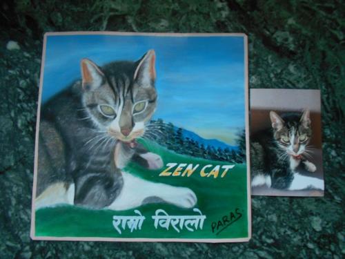 Folk art Tabby Cat hand painted on metal