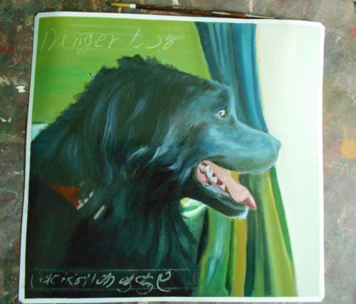 Folk art Black Dog hand painted on metal in Nepal