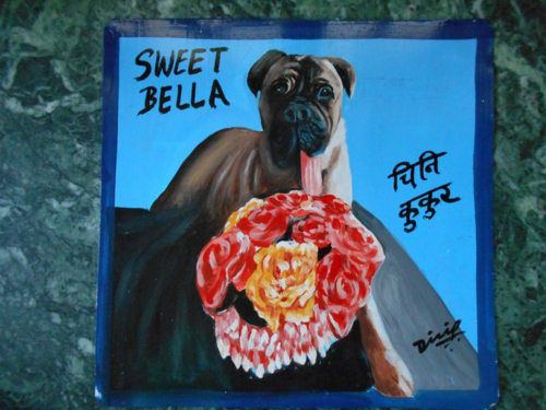 Folk art Mastiff hand painted on metal with roses