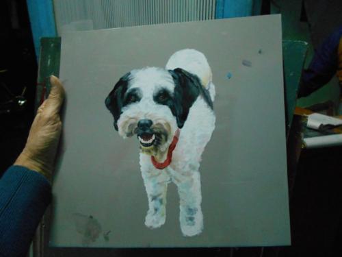 Folk art Tibetan Terrier hand painted on metal