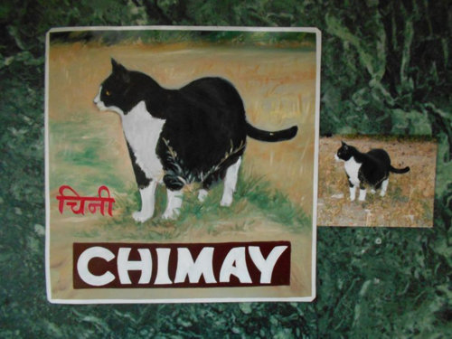 Folk art Cat hand painted on metal in Nepal