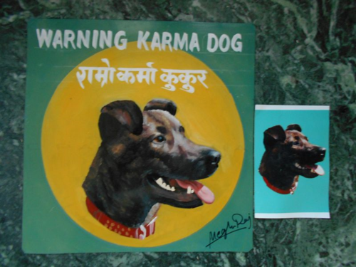 Folk art Staffordshire Terrier hand painted on metal in Nepal
