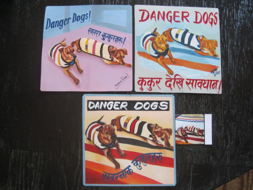 Folk art beware of Chihuahua sign hand painted on metal