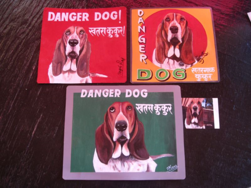 Folk art beware of Basset Hound hand painted on metal in Nepal