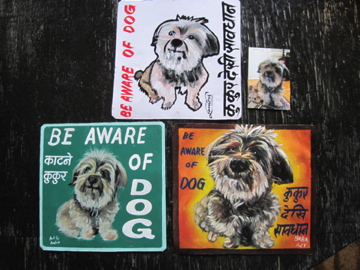 Folk art Beware of Cairn Terrier Maltese