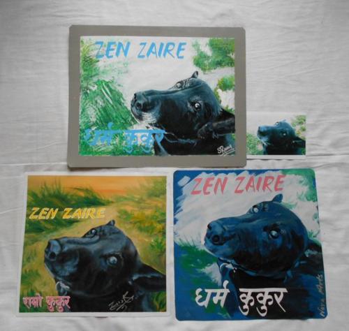 Folk art portrait of a Black Dog hand painted on metal in Kathmandu