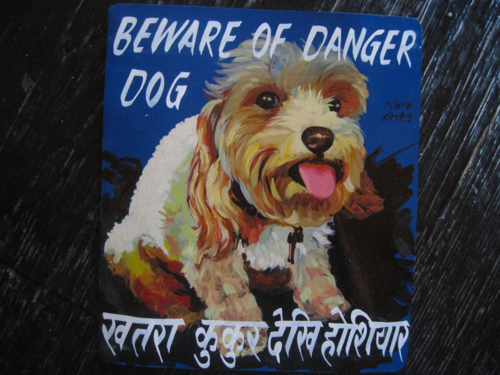 Folk art Cavoodle hand painted on metal in Nepal