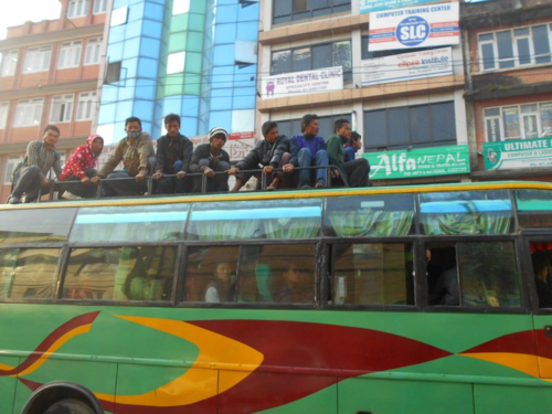 Buses are packed in Kathmandu due to the ongoing fuel embargo